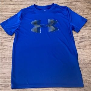 Under Armour Boys Blue Logo Tee Shirt Large EUC